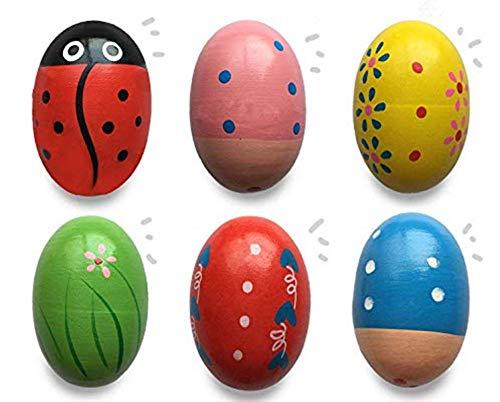 Jofan 6 Pack Wooden Musical Shake Easter Eggs Shakers for Kids Boys Girls Toddlers Easter Basket Stuffers Gifts Fillers