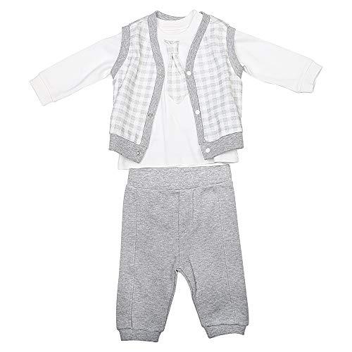 Active Baby Jungen 3er Set Bekleidungsset Baby Sweatshirt mit Krawatte Weste und Hose Spielanzug Jungen Festlicher Anzug in den Größen 56-74 (Grau, 62/3-6 M)