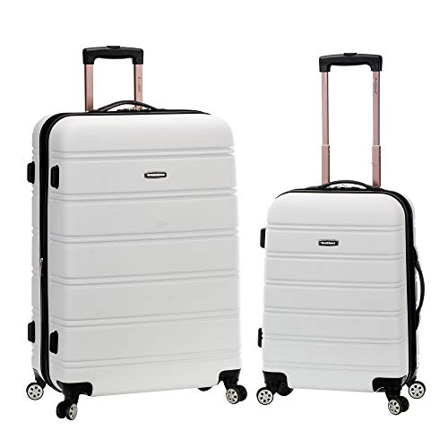 Rockland Melbourne Hardside Expandable Spinner Wheel Luggage, White, 2-Piece Set (20/28)