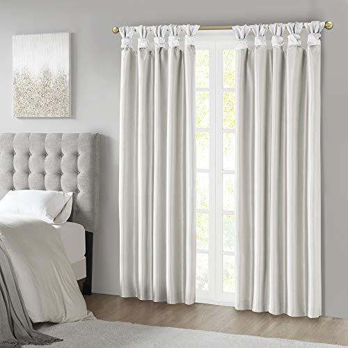 Madison Park Emilia Total Curtains Faux Silk Window, DIY Twist Tab Top Living Room Decor Thermal Insulated Light Blocking Drape for Bedroom and Apartments, 50x95, White Blackout