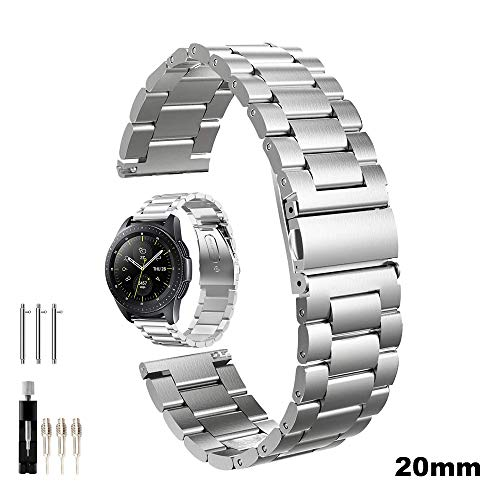 Armband kompatibel mit Galaxy Watch 42mm, Galaxy Watch Active/Active2 40mm/44mm, Gear Sport, Gear S2 Classic, Edelstahl Metall Uhrenarmband Ersatzband mit Doppelt Faltschließe (Metall Silber)