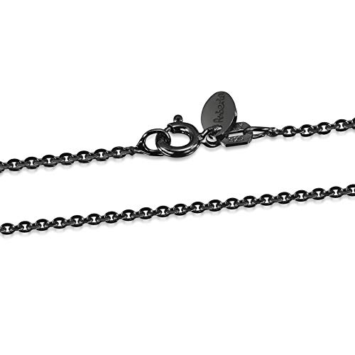 Amberta - Royal Black Collection - 925 Sterling Silver - 1.3 mm Belcher Chain Necklace - Length 18 inch
