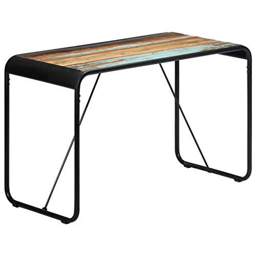Festnight Esstisch Esszimmertisch Küchen Tisch mit Stahlbeine Wohnzimmer Tisch Schreibtisch Arbeitstisch Holztisch 118×60×76 cm Recyceltes Massivholz