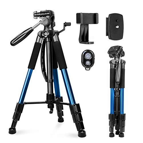 Kamerastativ, Sunfoto 160cm Leichtes Stativ aus Aluminium mit 2 Schnellwechselplatte, Tragetasche, Handyhalterung für Smartphone DSLR SRL Blau