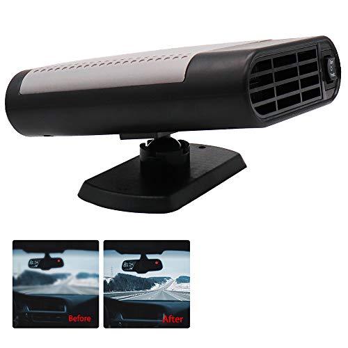 WANYIG Calefacción para Coche 12v 150W Deshelador de Ventanas con Ventilador de Frío/Calo para Coche Con 360 ° Ajustable y Cable 2M (Gris, sin purificacion de aire)