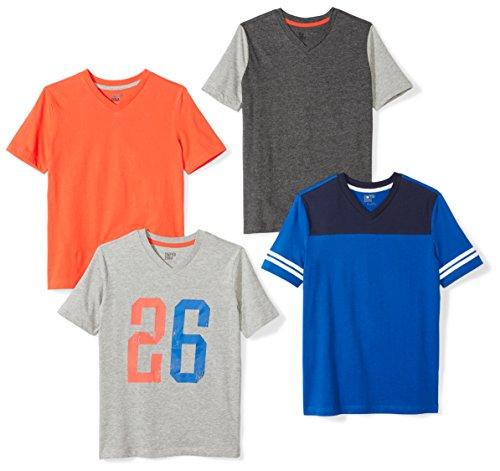 Amazon Brand - Spotted Zebra Kids Boys Short-Sleeve V-Neck T-Shirts, 4-Pack Batters Up, Medium
