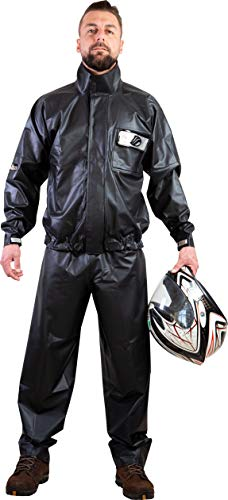 ALBA Waterproof Rain Suit for Motorcycles (Extra Large, XL) (Black)