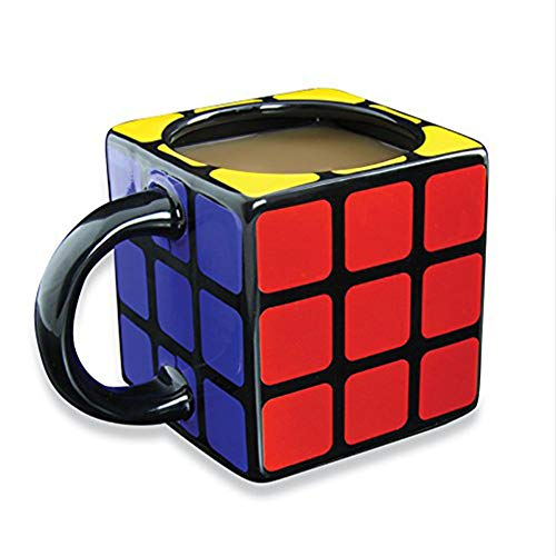 WXXW Taza Mágica del Cubo, Taza del Cubo De Rubik, Taza De Café De Cerámica, Taza De La Novedad, Regalo Adulto del Escritorio De Oficina del Día De Fiesta De La Navidad del Cumpleaños del Niño,Black
