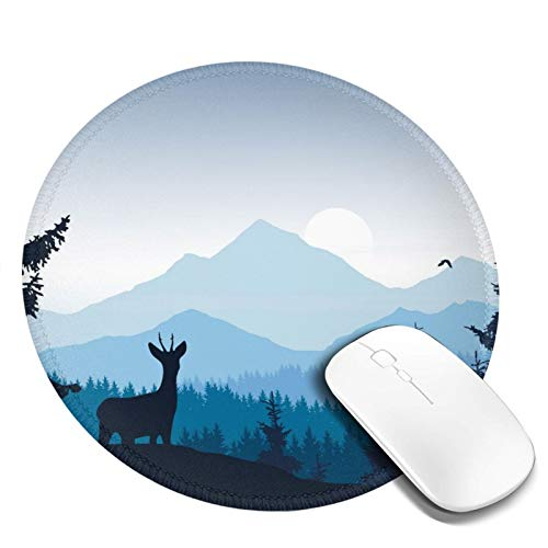 Gaming Mouse Pad Print Design,Professional Anti Slip Rubber Round Mousepads,Deer and Eagle Mountain Landscape Mouse Pads for Laptop Computer(Watercolor Forest)