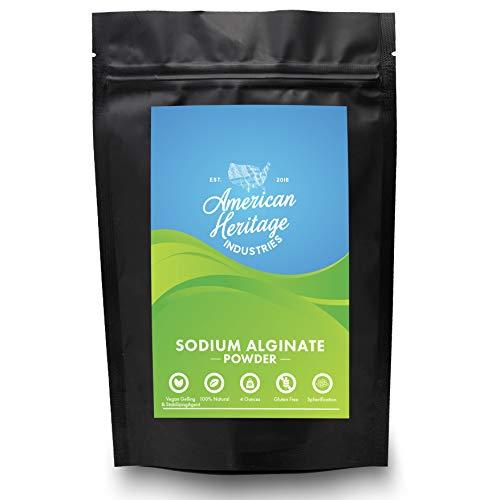 Pure Sodium Alginate Powder- Food Grade Sodium Alginate for Thickening and Spherification, 4 OZ Bag, by American Heritage Industries