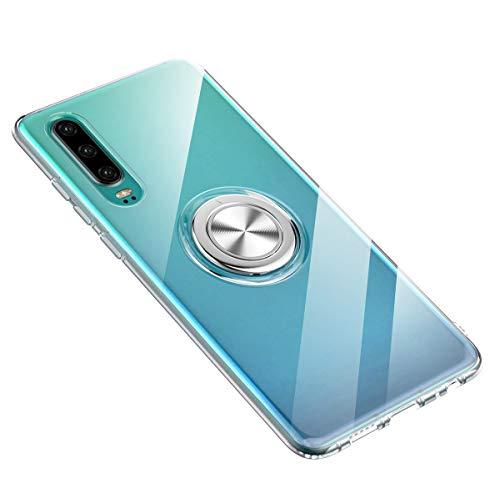 Hülle kompatibel mit Huawei P30/P30 Pro/P30 Lite,Ultra Dünn Clear Transparente TPU + PC Handyhülle Mit 360 ° Verdrehbare Ring,und Kickstand mit Magnet auf Backcover Schutzhülle (Huawei P30, 3)