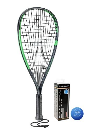 Dunlop Sonic Ti Racketball Racket, incluye cubierta protectora y 3 pelotas Dunlop Racketball