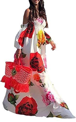WSIRMET Women Tube Top Strapless Floral Print Long Dress Half Sleeve Elastic Waist Ruffle Swing Flowy Maxi Sundress White