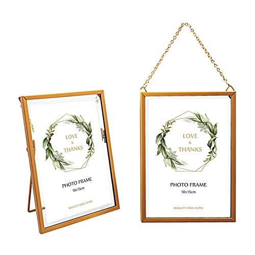 BEAUTY ONE HOME Gold Hanging Photo Frame 4x6-Metal DIY Artwork Display Frame Vintage Gallery Wall Frames Wall Mounted Photos Frame