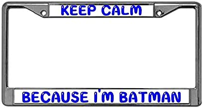 ken fi Personalized Chrome Metal License Plate Covers for Cars Keep Calm Because I'm Batman UV & Water Resistant Car Licenses Plate Covers Holders with Screw Set to Fit Any Vehicle