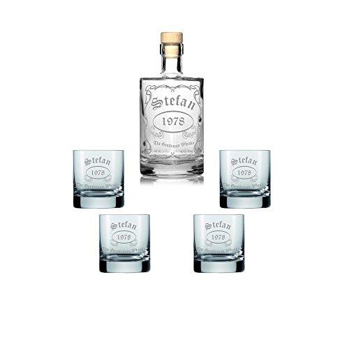 Edle Whisky Karaffe/Whisky Flasche inkl. persönlicher Gravur - wahlweise mit bis zu 6 Gläser - Motiv 010, Zusätzliche Gläser:zusätzlich 4 Gläser Titelbild