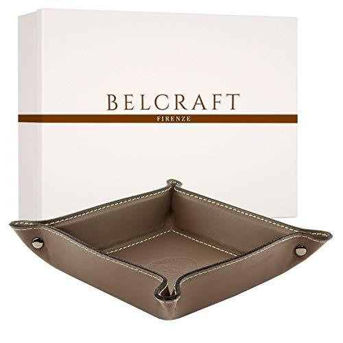 Belcraft Orvieto Plateau Bien rangé en Cuir de Fabrication Artisanale Italienne, Vide Poches, Cadeau, Taupe (19x19 cm)