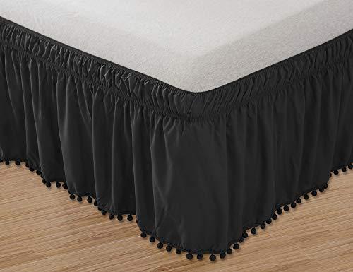 Elegant Comfort Luxury Top-Knot Tassle Pompom Fringe Ruffle Bed Skirt -Wrap Around Style- Elastic Bed Wrap- Wrinkle Resistant 16inch Drop, Queen/King, Black