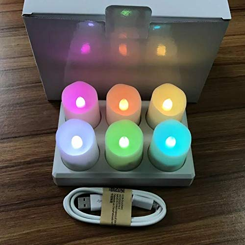 Bright Set of 6 USB Rechargeable flameless Wavy Edge Candle w/Remote Controller LED Tealight Votive Candles Home Party Decor-Multicolor Flickering (Emitting Color : Multicolor)