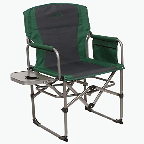 Kamp-Rite KAMPCC413 Compact Director's Chair Outdoor Furniture Camping Folding Sports Chair with Side Table and Cup Holder, Green/Gray