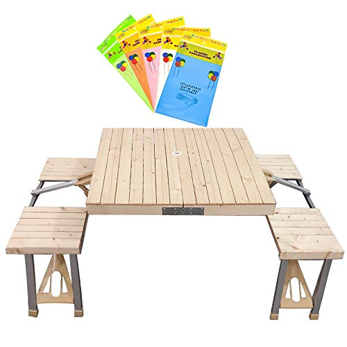MOAMUN All-in-one Picnic and Beach Table, Portable Foldable Solid Wood Camping Table and Chairs, Lightweight Table with 4 Seats for BBQ, Party, and Dining,Patio,Garden (with 10 Disposable Tablecloth)
