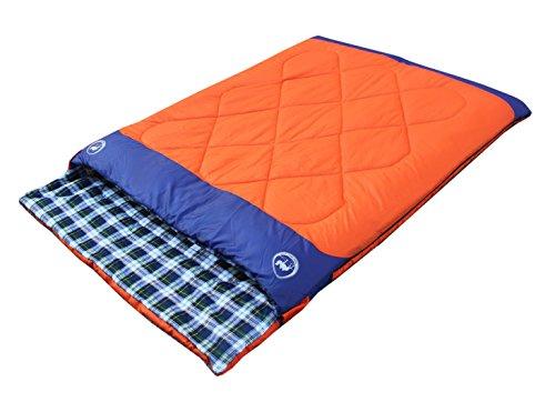 Famous Juggle 14℉~40℉~60℉ Double Sleeping Bag&unzipped into 2 Individual Sleeping Bags(Orange)