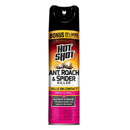 Hot Shot Ant, Roach And Spider Killer 21.875 Ounces, Aerosol Spray, Fresh Floral Scent, Pack of 12
