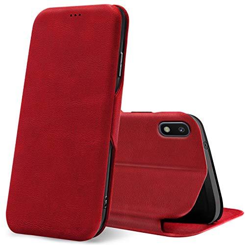 Verco Funda para Samsung Galaxy A10, Flip Libro Premium Carcasa [Cierre Magnético] Funda Protectora para Samsung A10 Case, Rojo