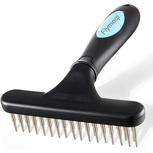 Flymoqi Dog Comb - Stainless Steel Deshedding and Dematting Undercoat Rake - for...