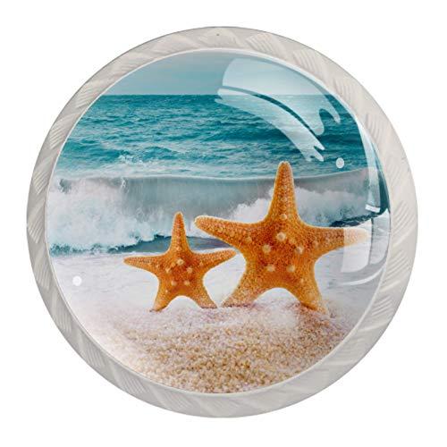 Blanco Perillas Redondas Estrella de mar amarilla ola oceánica Hecho a Mano perilla del gabinete para los cajones del tocador de la habitación infantil (con Tornillos) 35mm