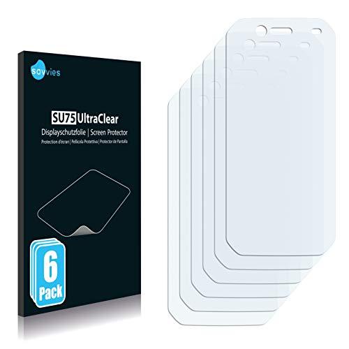Savvies 6X Schutzfolie kompatibel mit Caterpillar Cat S42 Bildschirmschutz-Folie Ultra-transparent