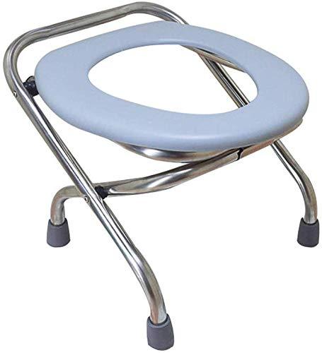 WEHOLY Klappstuhl, Edelstahl Lavatory Stuhl, Schwerer Erwachsenen-Töpfchensessel, leichtes Nachttisch, Camping, Bad, rutschfeste Sicherheit, Kein Fass, 42 cm