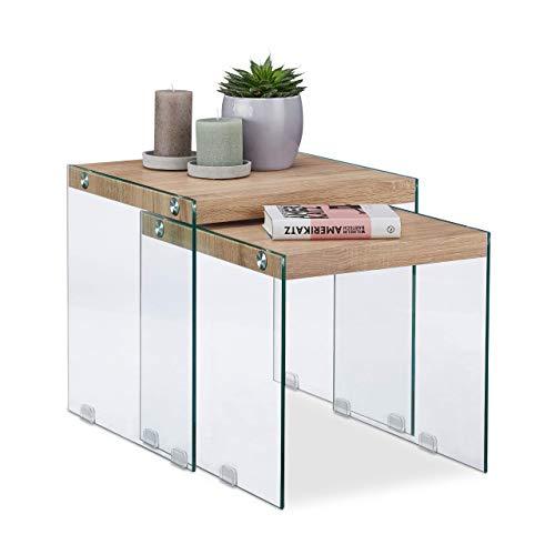 Relaxdays, natuur salontafel set van 2, massief houten blad, edele glazen bijzettafel, woonkamer, salontafels 40-45 cm hoog, standaard