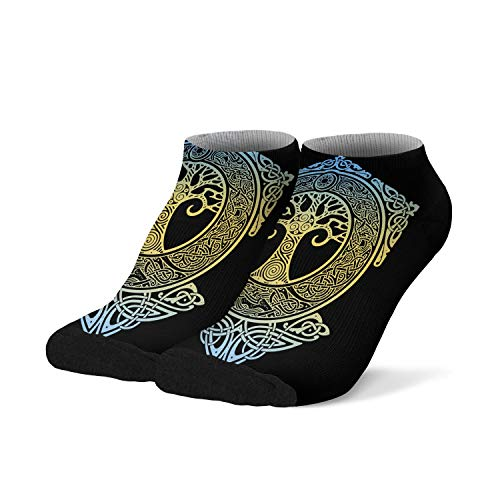 Mens Boys Ankle Low Cut No Show Socks Nordic Yggdrasil Tree Celtic Colorful Fashionable Cool Funny Saying Casual Athletic Short Tab Socks Black White