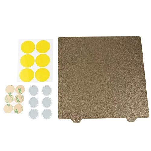 Manyao 3D Printer Parts, 220x220mm Gold Double Texture PEI Sheet Powder Steel Plate with 6 Magnetic Block for 3D Printer