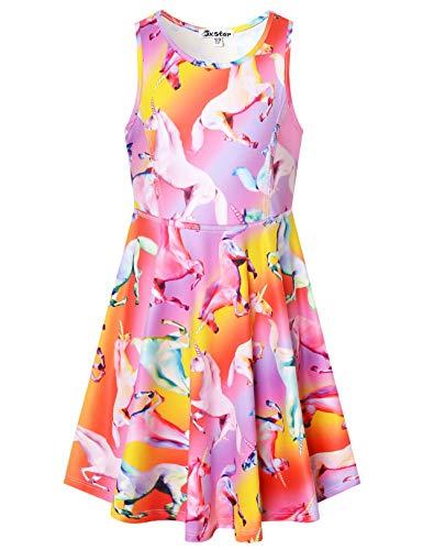 Unicorn Dresses for Girls Summer Sun Sleeveless Hawaiian Beach Twirl Dress,Size 10 11
