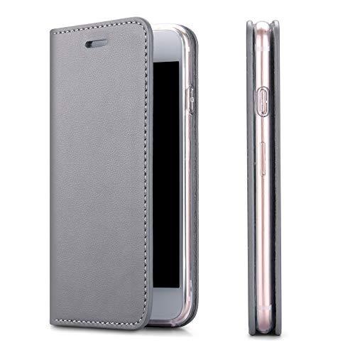 Wormcase Echt Ledertasche - für Apple iPhone 6S und iPhone 6 - Handytasche mit Kartenfach – Magnetverschluss - Grau – Leder Hülle kompatibel mit iPhone 6 und 6S