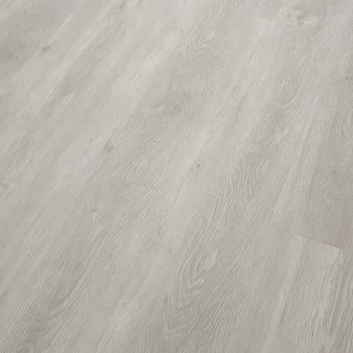 TRECOR Klick Vinylboden RIGID-SPC Designboden Massivdiele 5,0 mm stark mit 0,50 mm Nutzschicht - WASSERFEST - Sie kaufen 1 Musterstück mit ca. 30 cm (Musterstück, Trend Oak White)