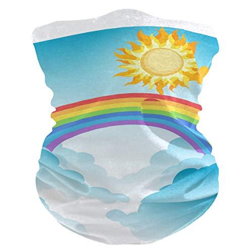 CherryLove Bandana gezichtsmasker hoofd dragen Mens Balaclava, Fietsen sjaal Anti Stof Mond Masker Sjaal Gezicht Beschermende Wind Balaclava voor Mannen Vrouwen Ademende Koeling Gezicht Sjaal Cover Mooie Regenboog Sky