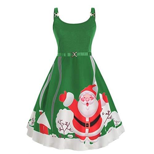 KOLY Vestito Donna,Femminile Natale del Fiocco di Neve di Moda Cinghie Epoca Vestito Elegante Babbo Stampa del Vestito di Natale Abiti Invernali