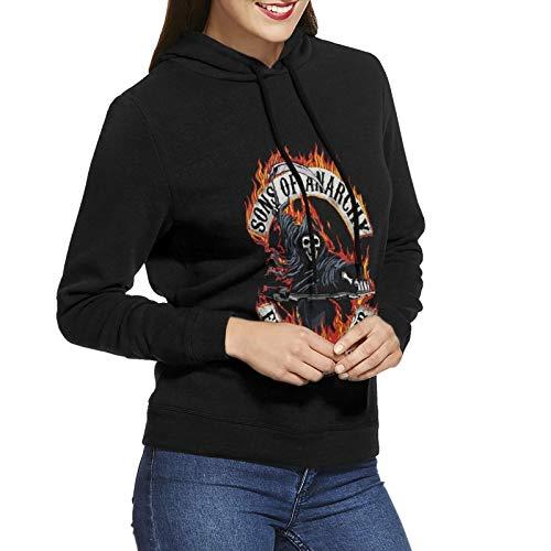N / A Sons of Anarchy Women's Hoodie Sweatshirt Long-Sleeve Baumwolle Damen Hooded No Pocket Sweatshirt Kapuzenpulli M