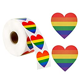 1000 Count Gay Pride Stickers LGBT Rainbow Color Heart Shaped Stickers Roll for Gifts, Crafts, Envelope Sealing and…