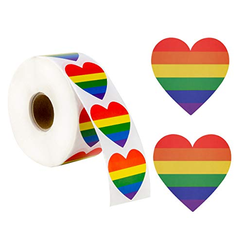 Toperd 1200 Count Gay Pride Stickers LGBT Rainbow Color Heart Shaped Stickers Roll for Gifts, Crafts, Envelope Sealing and Lesbian Gay Group Activities , 1.6 x 1.6 in