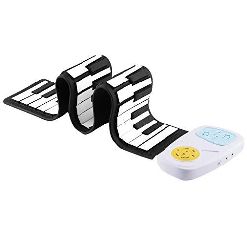 Glücklich Tragbare Flexible 49-Tasten Handgerollte Klavier Klapptastatur Spielzeug für Kinder Geschenk (Schwarz Weiß-Version, Weiß)
