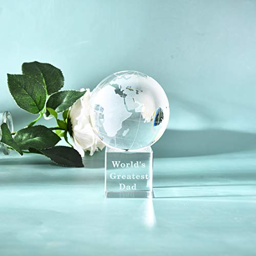 """LONGWIN World's Greatest Dad 2.76"""" Crystal Globe Awards - Father's Day Gifts for Dad from Daughter Son Unique Present Best Dad Birthday Christmas Thanks Giving Day Gift"""