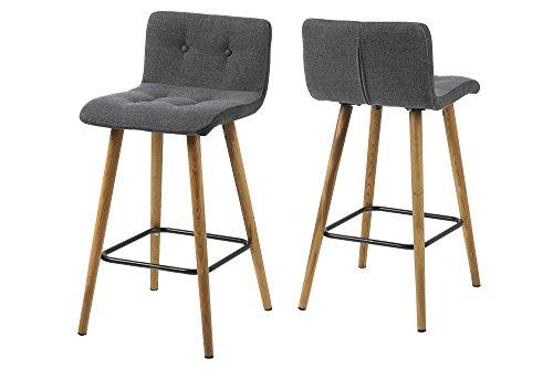 AC Design Furniture Tabouret de Bar Charlotte - 44,5 x 47 x 96,5 cm - Placage Gris