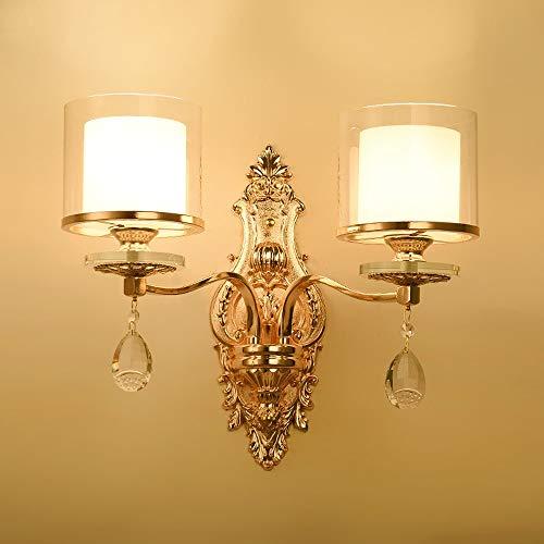 LHTCZZB Lampada da parete in metallo E27 a 1 o 2 luci in ferro battuto Lampada da parete moderna in metallo E27 (Dimensione : 2-Lights)