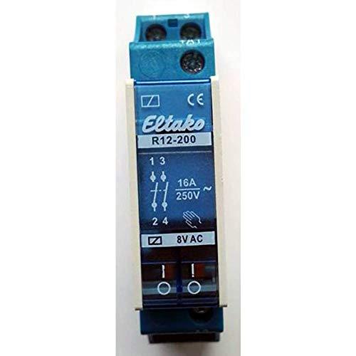 Eltako 1393771 ELTA R12-200-8V Installationsrelais, 16 A 8 V AC, 2S R12-200-8 V, Blau