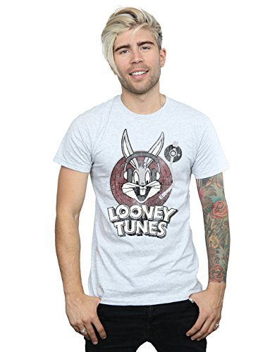 Looney Tunes Herren Bugs Bunny Circle Logo T-Shirt Sport Grau X-Large