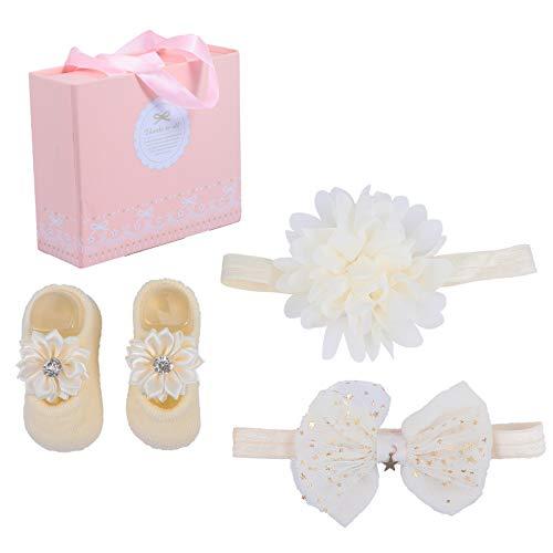 STOBOK Conjunto de Presente de Meia Com Fita de Cabelo para Bebê Menina Recém-Nascida Flor Arco-Ãris Fita de Cabelo Arco Sapatos Com Caixa de Presente para Chá de Bebê Infantil Presente